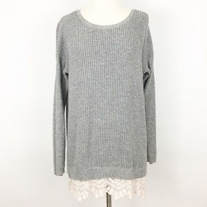 loft | lace hem trim tunic stretch comfy sweater M